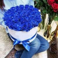 31 синяя роза в коробке R188